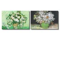 """wall26 - Roses/Still Life Paintings by Vincent Van Gogh - Oil Painting Reproduction in Set of 2   Canvas Prints Wall Art, Ready to Hang - 16"""" x 24"""" x 2 Panels"""