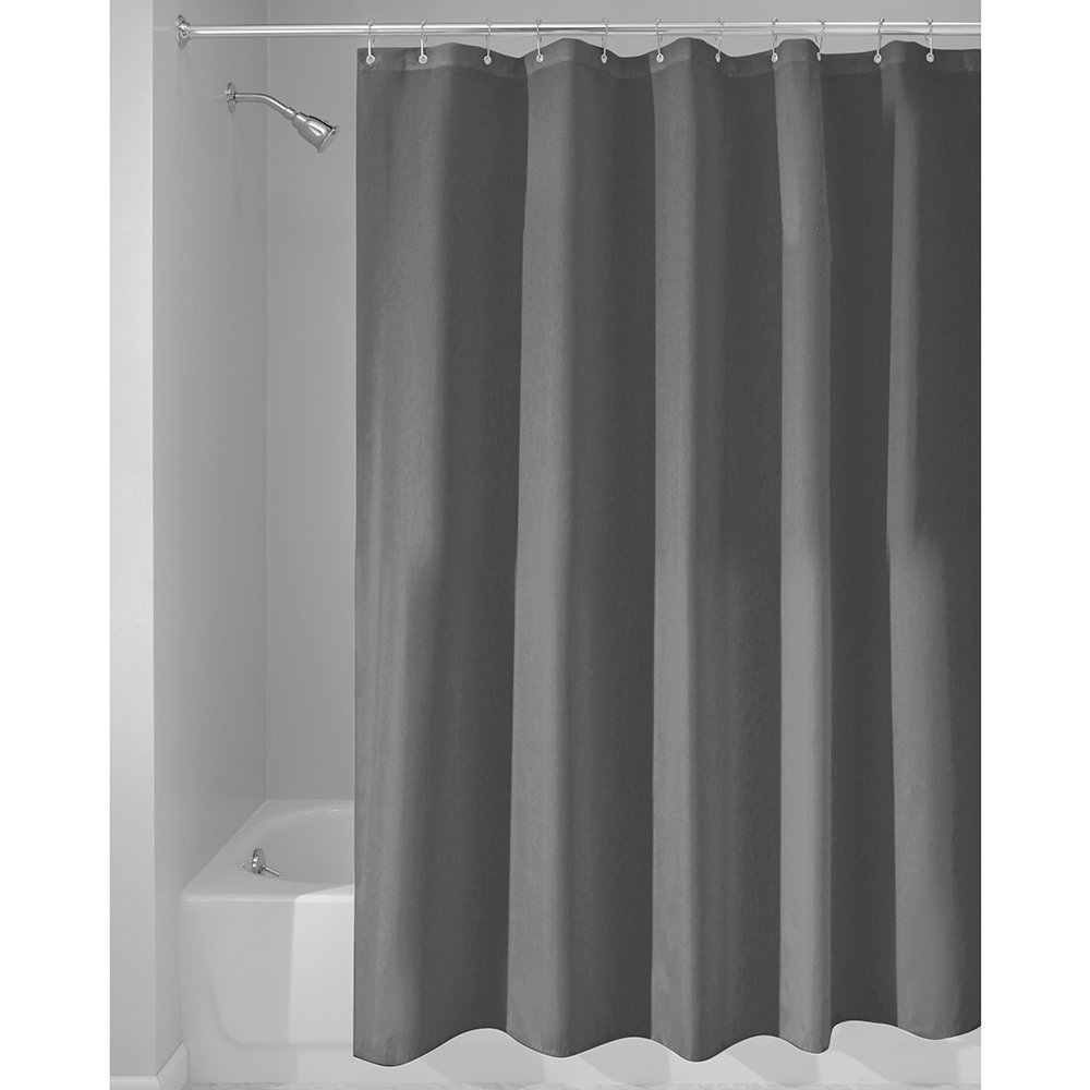 Eforcurtain Water Proof Solid Cloth Shower Curtain Liner with Rings, Stall Extra Long 54 by 78 Inches Charcoal Color Bathroom Curtains for Home and Hotels