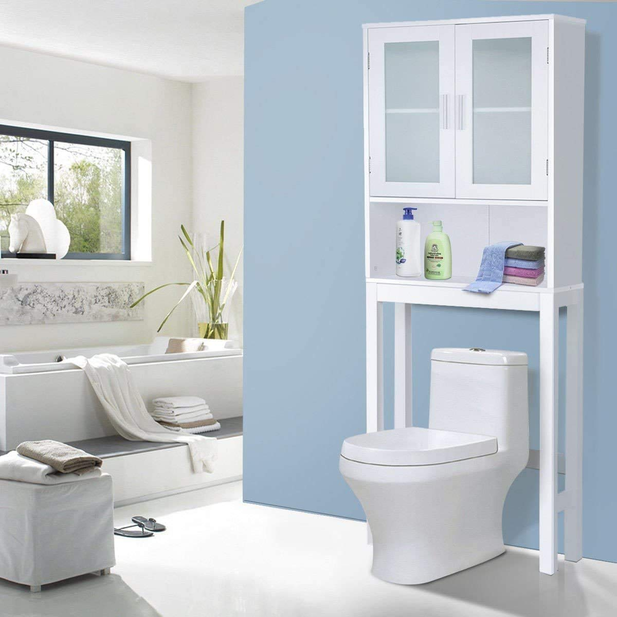 Waterjoy Home Bathroom Shelf Over-The-Toilet Bathroom Storage Cabinet Organizer Bathroom SpaceSaver (Upgraded Size+Frosted Glass)