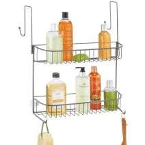 mDesign Extra Wide Metal Wire Over the Bathroom Shower Door Caddy, Hanging Storage Organizer with Built-In Hooks and Baskets on 2 Levels for Shampoo, Body Wash, Loofahs, Rust Resistant - Graphite Gray