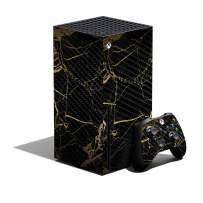 MIGHTY SKINS Carbon Fiber Skin Compatible with Xbox Series X Bundle - Black Gold Marble | Protective, Durable Textured Carbon Fiber Finish | Easy to Apply | Made in The USA