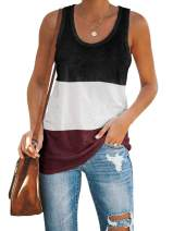 leyay Womens Workout Tank Tops Cotton Color Block Racerback Tunic Top Yoga Basic Casual Tee Shirt