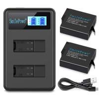 SmilePowo 2 Rechargeable Battery Dual LCD Battery Charger 1480mAh for GoPro Hero 5/6/7 Black,GoPro Hero 2018, GoPro Ahdbt-501 AABAT-001, GoPro 601-10197-000 (Compatible with Original Camera)