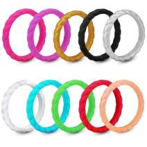 YISSION 10 Pack Silicone Rings for Women Thin and Stackble Colorful Silicone Rings Rubber Wedding Bands