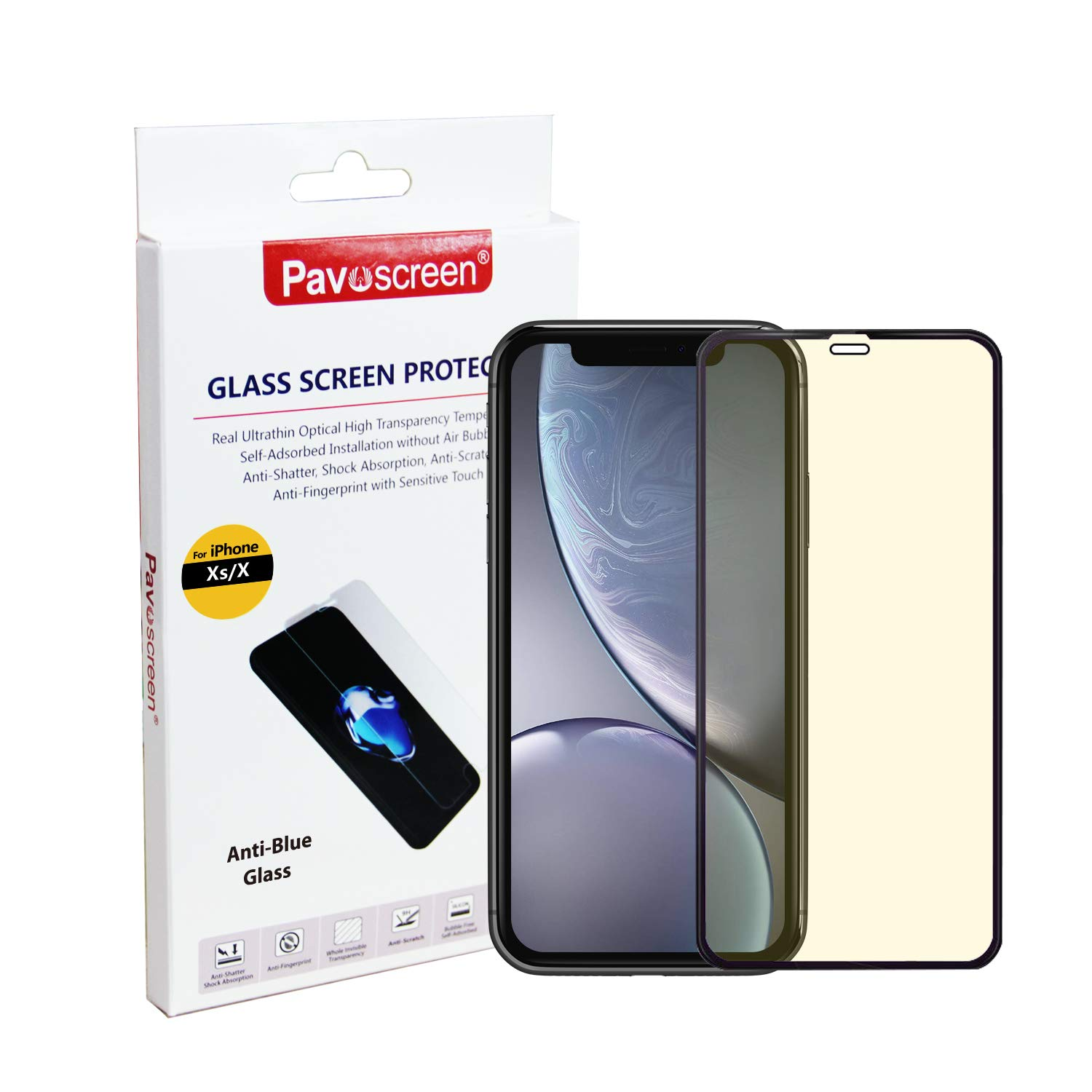 """Pavoscreen Anti Blue Light Screen Protector for iPhone Xs,iPhone X,iPhone 11 Pro 5.8"""" Block UV Light Reduce Eyes Fatigue and Eyes Strain iPhone 10S,iPhone 10 Tempered Glass [One Gift Phone Case]"""
