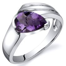 Amethyst Ring Sterling Silver Rhodium Nickel Finish Pear Shape 1.00 Carats Sizes 5 to 9