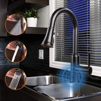 Touchless Kitchen Sink Faucets with Pull Down Sprayer, Kitchen Faucet with Pull Out Sprayer Single-Hole and 3 Hole Deck-Mount,3 Mode Single Handle Oil Rubbed Bronze Easy to Install, Spot Resist