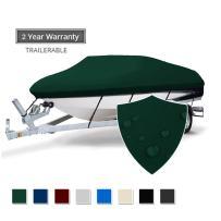 Seamander Heavy Duty Waterproof Trailerable Boat Cover Fit V-Hull Tri-Hull Fishing Ski Pro-Style Bass Boats, Full Size