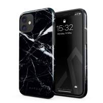 BURGA Phone Case Compatible with iPhone 11 - Shooting Star Golden Cracks Black Marble Cute Case for Girls Heavy Duty Shockproof Dual Layer Hard Shell + Silicone Protective Cover