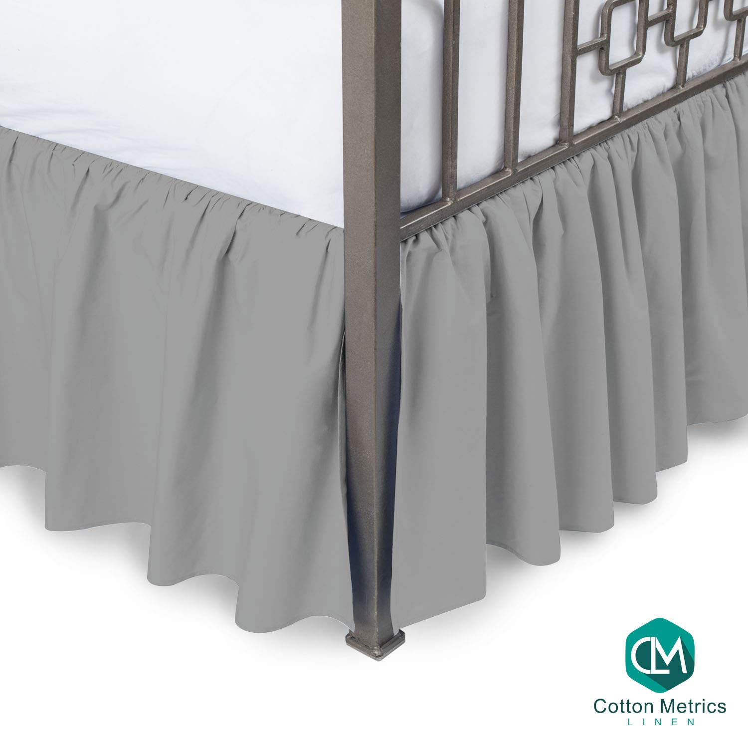 """Cotton Metrics Linen Present 800TC Hotel Quality 100% Egyptian Cotton 1pc Dust Ruffle Bed Skirt 22"""" Drop Length Full Size Silver Grey Solid"""