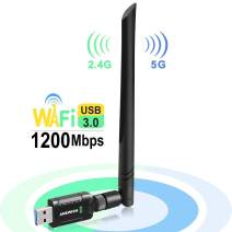 USB WiFi Adapter 1200Mbps for PC Desktop Laptop, Dual Band (2.4G/300Mbps+5G/866Mbps) Network LAN Card with High Gain External Antenna for Windows Vista/7/8/8.1/10 MAC Linux
