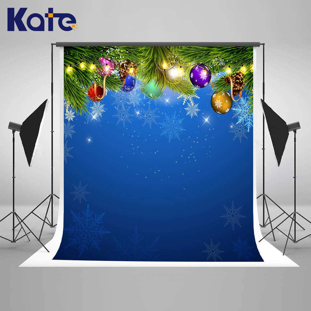 Kate 5×7ft Blue Christmas Photography Backdrop Microfiber Xmas Background Snowflake Firtree Winter Photo Studio Booth for Happy New Year Christmas Party Photography Backdrop Props
