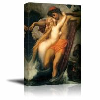 """wall26 - The Fisherman and The Syren by Frederic Leighton - Canvas Print Wall Art Famous Painting Reproduction - 32"""" x 48"""""""