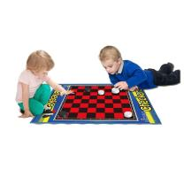2 Player Jumbo Checkers Mat/Board with Big Black & White Checker Pieces Ages 1-99 by Dimple
