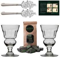 ALANDIA Premium Absinthe Spoons Glasses Set   2X Absinthe Glasses   2X Absinthe Spoons   1x Absinthe Sugar Cubes   1x Drinking Instructions Card for The Absinthe Ritual