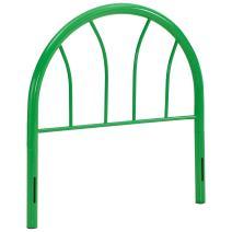 Modway Damaris Arched Rustic Farmhouse Style Steel Metal Twin Headboard in Green