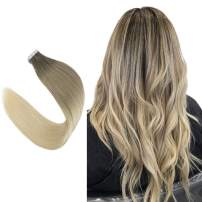 """Easyouth 22"""" Straight Hair Extensions Tape In Hair Ombre Color #8 Fading To #18 To #60 Glue In Hair Extensions 50g 20pcs Per Pack Tape On Hair Extensions Silky Straight Skin Weft Extensions"""