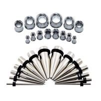 Qmcandy 28pcs 12G-1/2 Multi-Styles Stainless Steel Tapers Stretcher Set + Screw Back Double Flared Ear Tunnels Kit