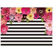 Allenjoy 8x6ft Black and White Stripe Backdrops Pink Paper Flower Banner Birthday Graduation Wedding Mother's Day Retirement Bachelor Party Decoration Bridal Baby Shower Photo Studio Booth Background