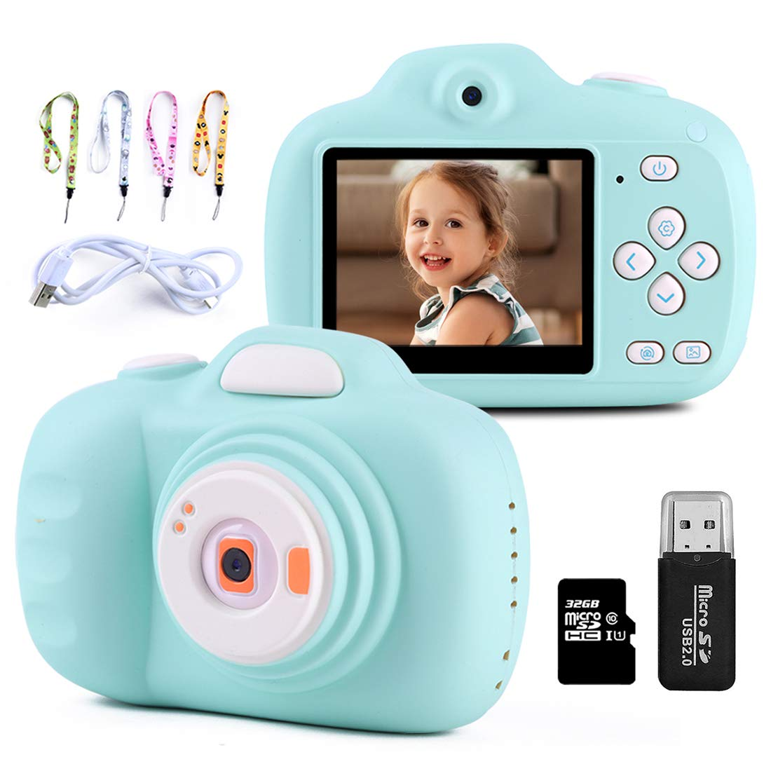 MARUMINE Kids Camera, 12.0MP Digital Camera with Dual Lens, 1080P HD Video, 2.3 Inch LCD Screen, 32GB SD Card Included, Selfie Camera for 3-10 Years Old Kids Boys and Girls (Blue)