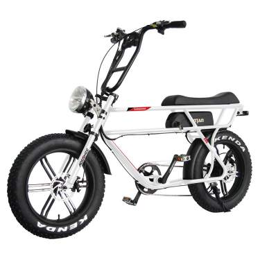 Addmotor MOTAN Electric Bicycle 20 Inch Fat Tire 750W Motor 48V 16Ah Lithium Battery Powered Assist Motorcycle Headlight M-70 Platinum Cruiser Retro E-Bike for Adults Men
