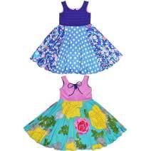 TwirlyGirl Circle Skirt Dress Girls Reversible Flip Spin Yellow Pink USA Made