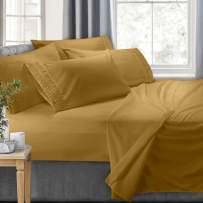 Clara Clark 7-Piece Bed Sheets - Luxury Pleated Sheets Set, Bedding Sheet Set 100% Soft Brushed Microfiber Flat Sheet, Fitted Sheet, Pillowcases Cool & Breathable, Split King - Camel Gold