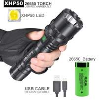 Rechargeable LED Flashlight, Super Bright High Lumen 5 Light Modes, IPX5 Waterproof, Handheld Light, Most Powerful for Emergency Hunting Camping Hiking Fishing(26650 Battery Included)