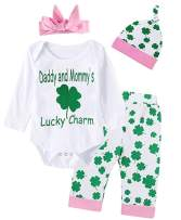 Shalofer ST. Patricks Day Outfit Set 4Pcs Baby Girls Clover Romper
