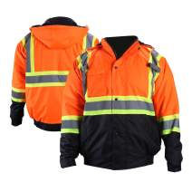 FONIRRA High Visibility Safety Bomber Jacket for Men with Quilted Lining, ANSI Class 3 Winter Waterproof Work Jacket Hoodie with Black Bottom(Orange,L)