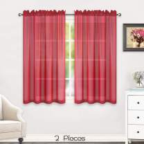 HUTO Rod Pocket Red Sheer Window Panels Curtains for Bedroom Sheer Voile Curtains Drapes 45 inches Long 2 Panels Short Sheer Curtains for Kitchen