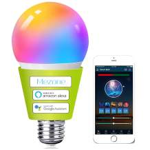 Smart WiFi Light Bulb,Compatible with Alexa & Google Home, Mezone E26 RGB Color Changing Light Bulb with APP ,No Hub Required,Dimmable Smart Led Bulb A19 7W 60W Equivalent