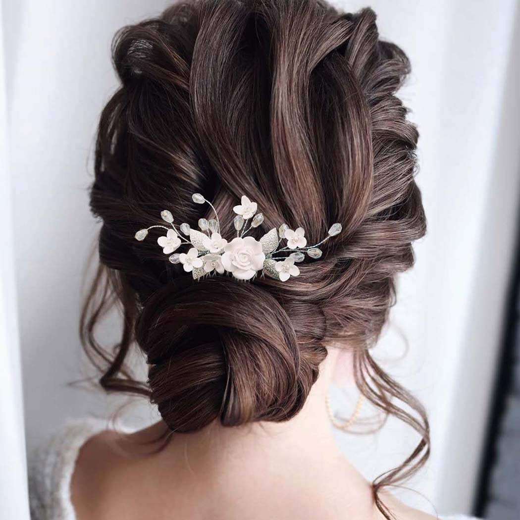 YBSHIN Bride Wedding Hair Comb Silver Crystal Pearl Hair Combs Flower Rhinestone Bridal Headpieces Decorative Hair Accessories for Women and Girls