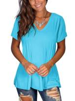 KINSIAN Women's Casual V-Neck Short Sleeve Plain Tee T-Shirt Tunic Top