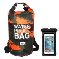 MARJAQE Floating Waterproof Dry Bag 2L/5L/10L/15L/20L/30L Roll Top Sack Keeps Gear Dry for Kayaking, Rafting, Boating, Swimming, Camping, Hiking, Beach, Fishing (Orange Camouflage,15L)