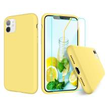 VEGO Compatible for iPhone 11 Liquid Silicone Case, iPhone 11 Silicone Case, Gel Rubber Bumper with Soft Cute Microfiber Lining Cushion Compatible for iPhone 11 Case 6.1 inch - Yellow