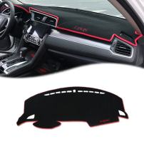 GTINTHEBOX Custom Fit Dashboard Black w/Red Rim Center Console Cover Dash Mat Protector Sunshield Cover Pad Carpet for Honda 10th Civic 2016 2017 2018 Coupe Hatchback