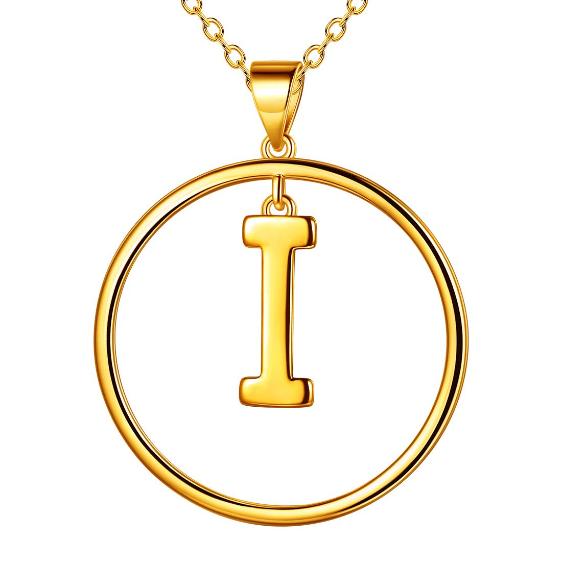 Beautlace Initial Letter A-Z Necklace 18K Gold Plated Round Circle Name Necklaces Alphabet Pendant Jewelry for Women and Girls KP0008