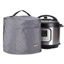 HOMEST Quilted Dust Cover with Pocket Compatible with Instant Pot 6 Quart, These Pressure Cooker Cover Have Wipe Clean Liner for Easy Cleaning, 3 Cover Sizes, Grey (Patent Design)