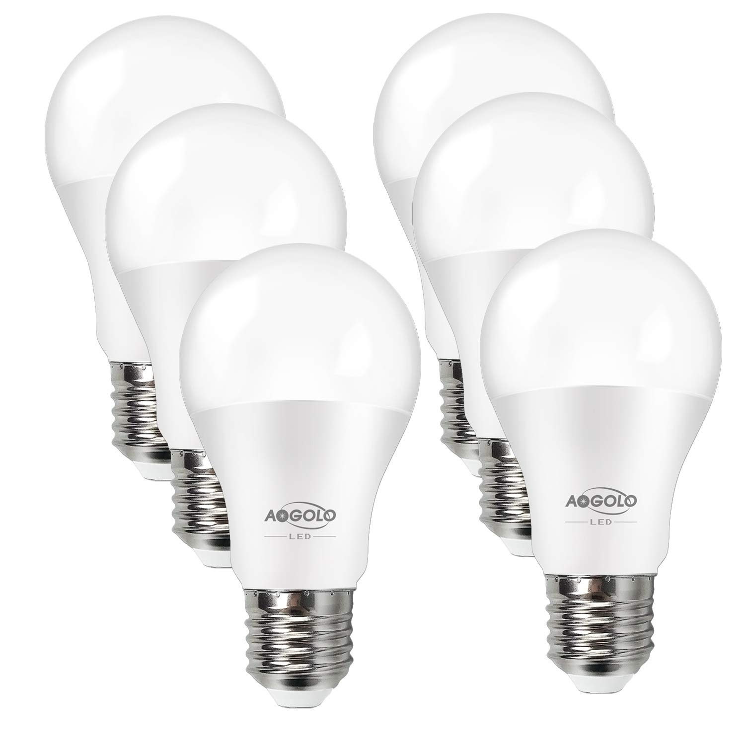 AOGOLO A19 LED Light Bulb,60 Watt Equivalent,Efficient 9W LED Bulbs,810 Lumens,2700K Soft White(Warm),E26 Medium Screw Base, Non Dimmable,LED Lights for Home,UL Listed,Standard Replacement,(6-Pack)