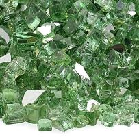 American Fireglass 10-Pound Reflective Fire Glass with Fireplace Glass and Fire Pit Glass, 1/4-Inch, Evergreen