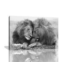 KALAWA Lion and Lioness Wall Decor Painting Pictures Print On Canvas Animal The Picture for Home Modern Decoration Wooden Framed Ready to Hang(24''W x 36''H)