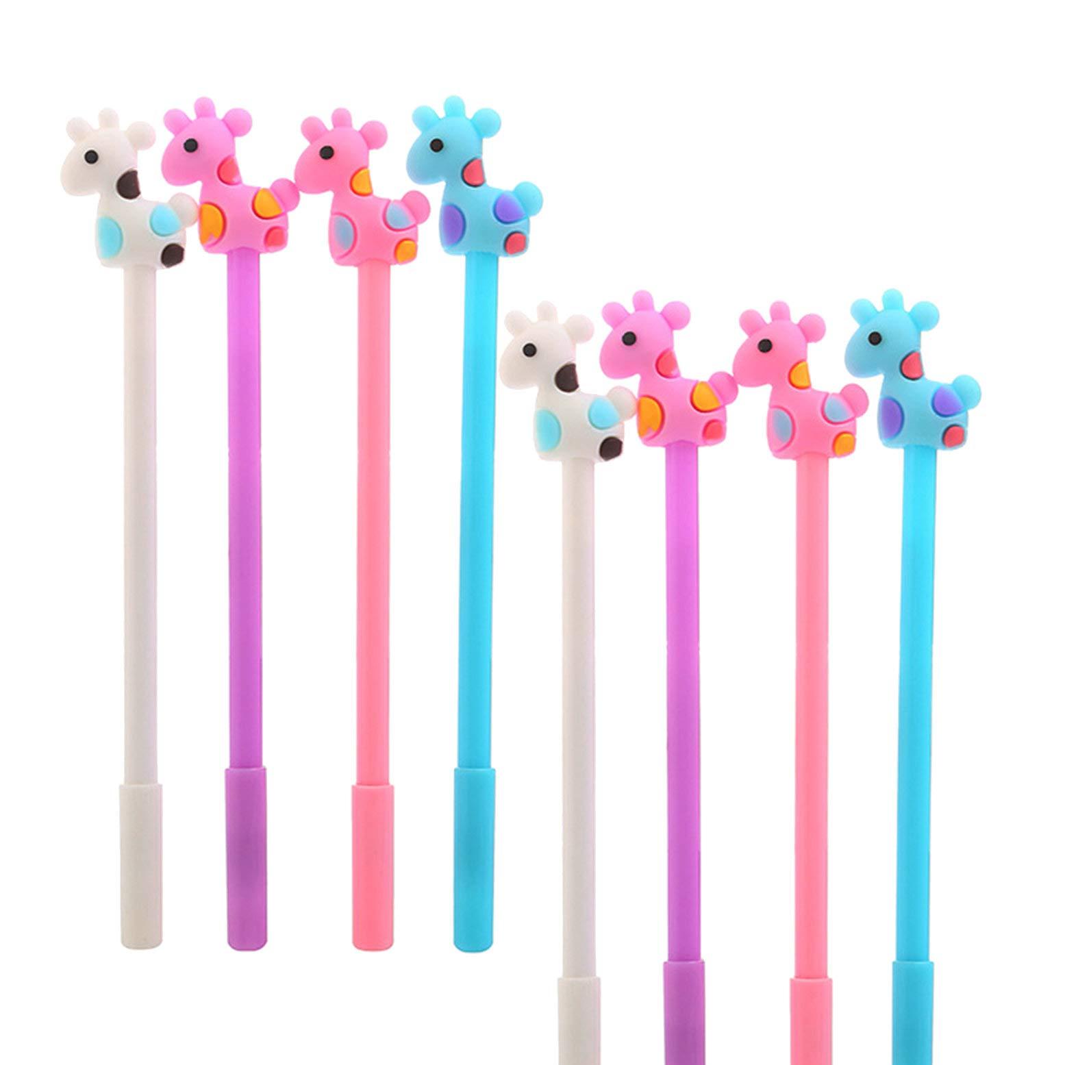 WIN-MARKET Animal Sika Deer Giraffe Gel Pens Fashion Cute Cartoon Colorful Kawaii Lovely Colorful Gel Black Ink Ball Pens 0.38MM Office School Stationery pen(8PCS)