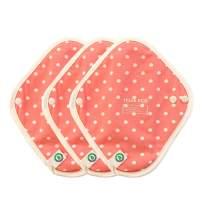 think ECO [3-Pads] Organic Reusable Fashionable Cotton Cloth Panty Liner Pads, Menstrual Liner Pads, Sanitary Napkins, Three Supply (DOT Pink)