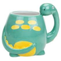 MyGift Adorable Brontosaurus Dinosaur Cartoon Ceramic Coffee Mug, Turquoise