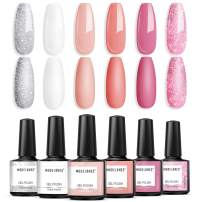 Modelones Gel Nail Polish Set- Spring Pink White Pastel Glitter Series 6 Pcs 10ml Colors Collection Nail Art Gift Box Soak Off UV LED Nail Varnish Manicure 0.33 OZ