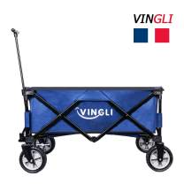 VINGLI Portable Collapsible Utility Wagon,Sturdy Outdoor Folding Garden Sports Shopping Cart, Steel Frame for Beach Park Camping Patio Compact on Wheels Blue