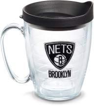 Tervis 1079866 NBA Brooklyn Nets Primary Logo Tumbler with Emblem and Black Lid 16oz Mug, Clear