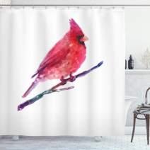 "Lunarable Bird Shower Curtain, Watercolor Cardinal Display Winter Season Wildlife Christmas Holiday, Cloth Fabric Bathroom Decor Set with Hooks, 70"" Long, Coral Purple"