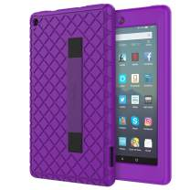 MoKo Kids Case Fits All-New Amazon Kindle Fire 7 Tablet (9th Generation, 2019 Release), Anti Slip Soft Silicone Back Cover Shell with Hand Strap for Secure Corner Protection - Purple